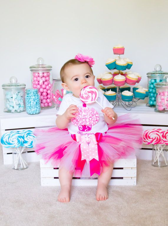 Baby Tutu Outfit Half Way One Pastel Birthday Girls Baby One Vest Photo Prop