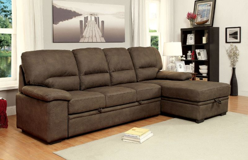 Cm6908br 2 Pc Alcester Ash Brown Faux Nubuck Fabric Sectional Sofa Set Brown Sectional Sofa Sectional Sofa Fabric Sectional