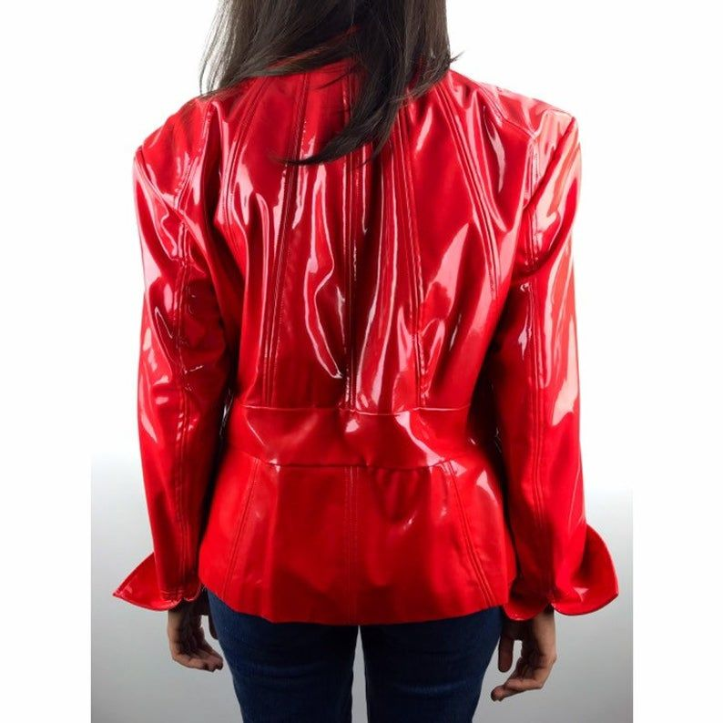 90 S Rare Pamela Mccoy Red Vinyl Jacket Etsy With Images Jackets Fashion Red Leather Jacket