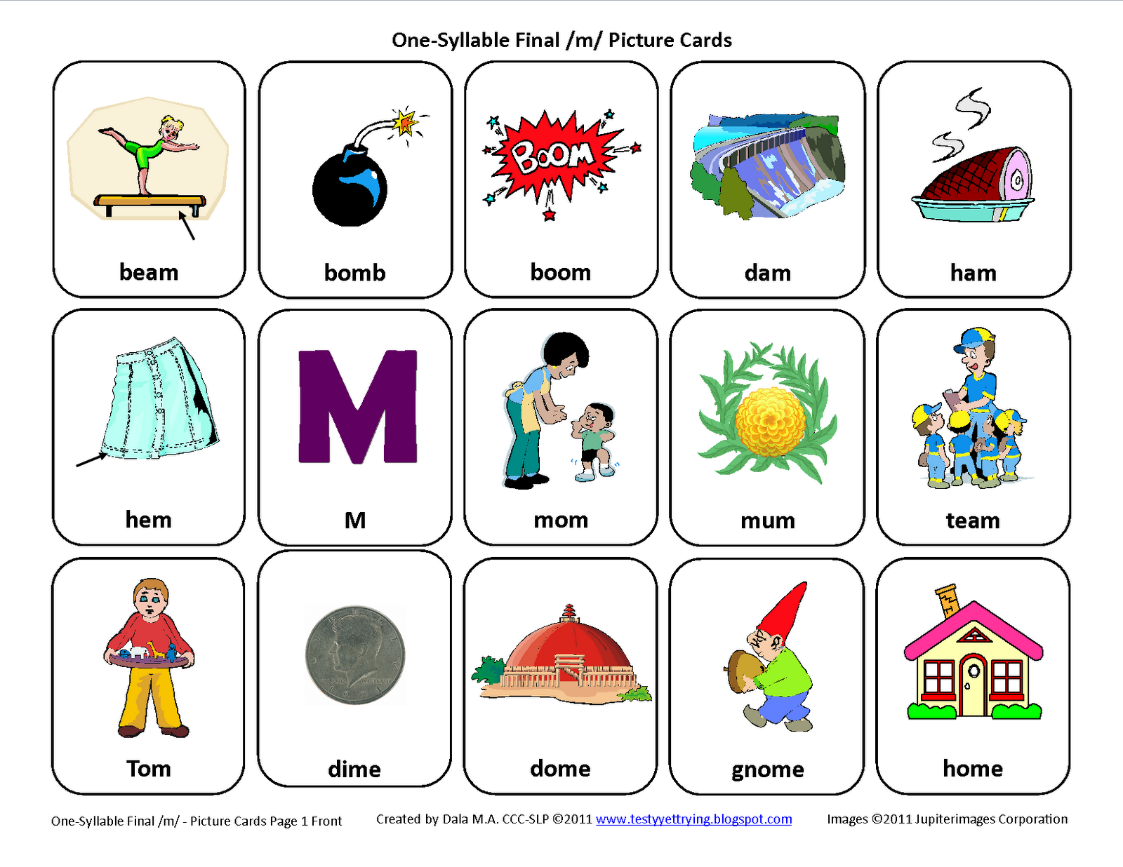 Testy Yet Trying Final M Free Speech Therapy Articulation Picture Cards