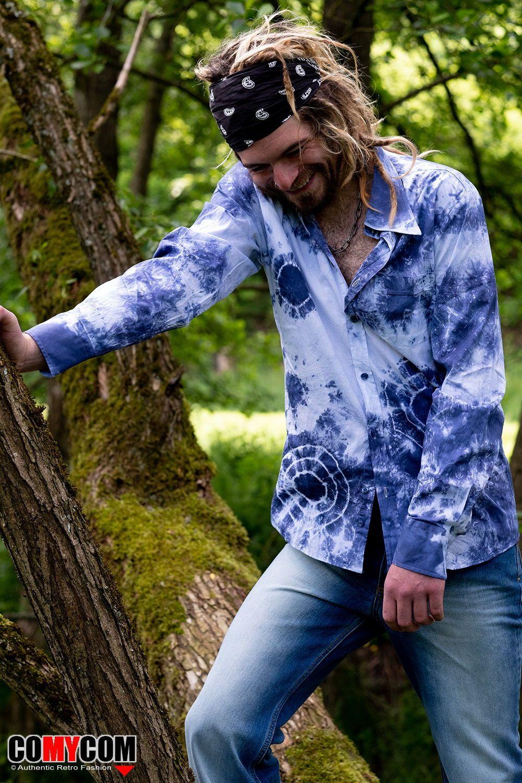 Comycom Batik Langarm Herrenhemd In Blau Weiss Tonen