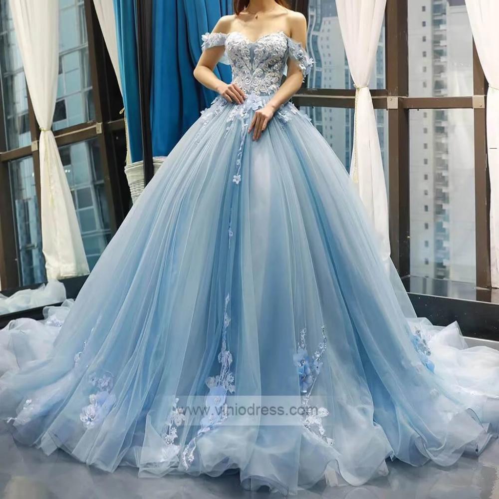 Light Blue Floral Prom Dresses Cinderella Quinceanera Dress FD1148