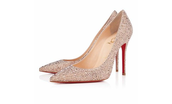 134869e372f7 Christian Louboutin  Decollete 554 100mm Nude Strass  BridalShoes