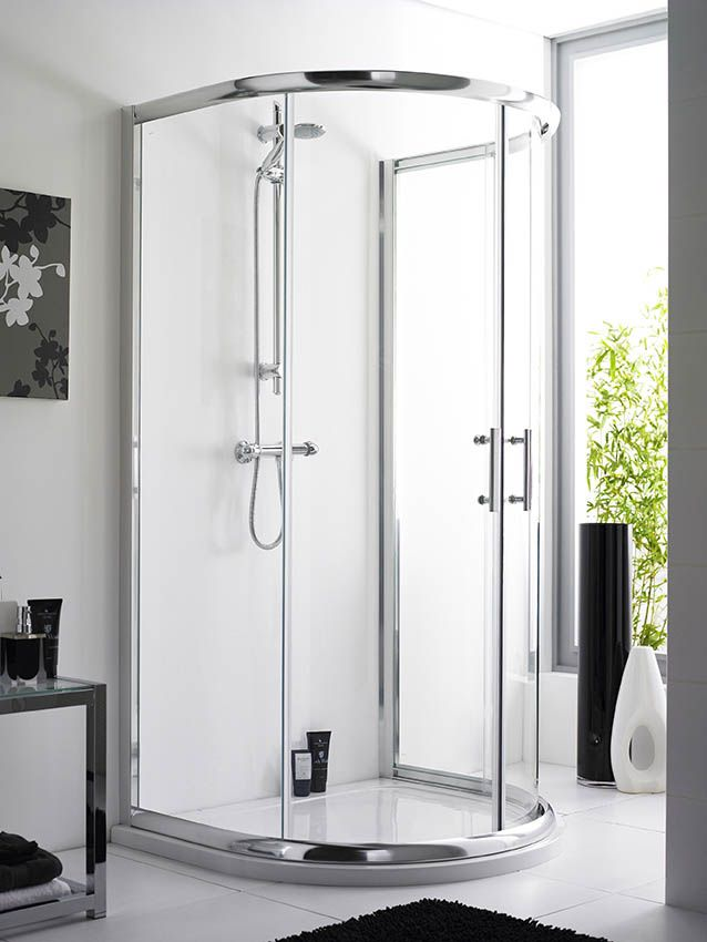The Pacific D-Shaped enclosure is a chrome-finished shower ...
