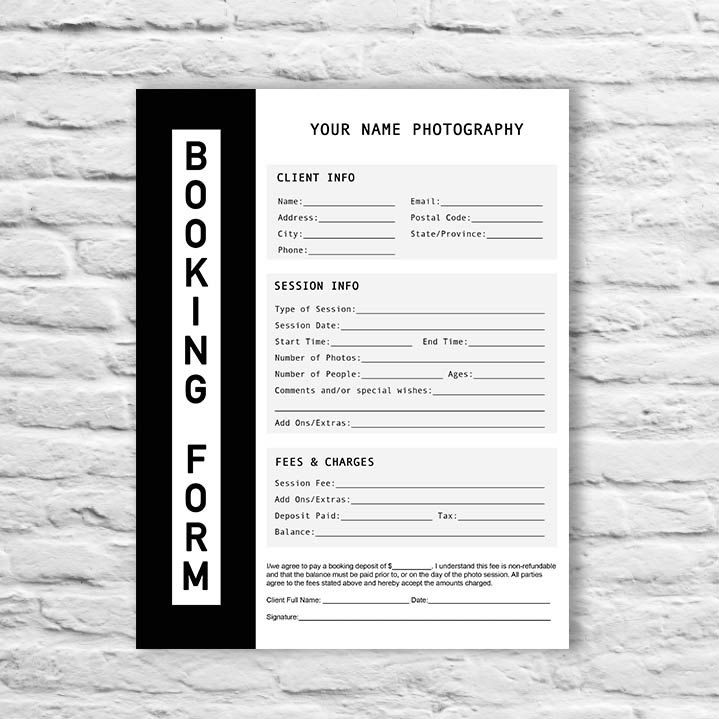 Booking form photography contract form session booking form booking form photography contract form session booking thecheapjerseys Choice Image