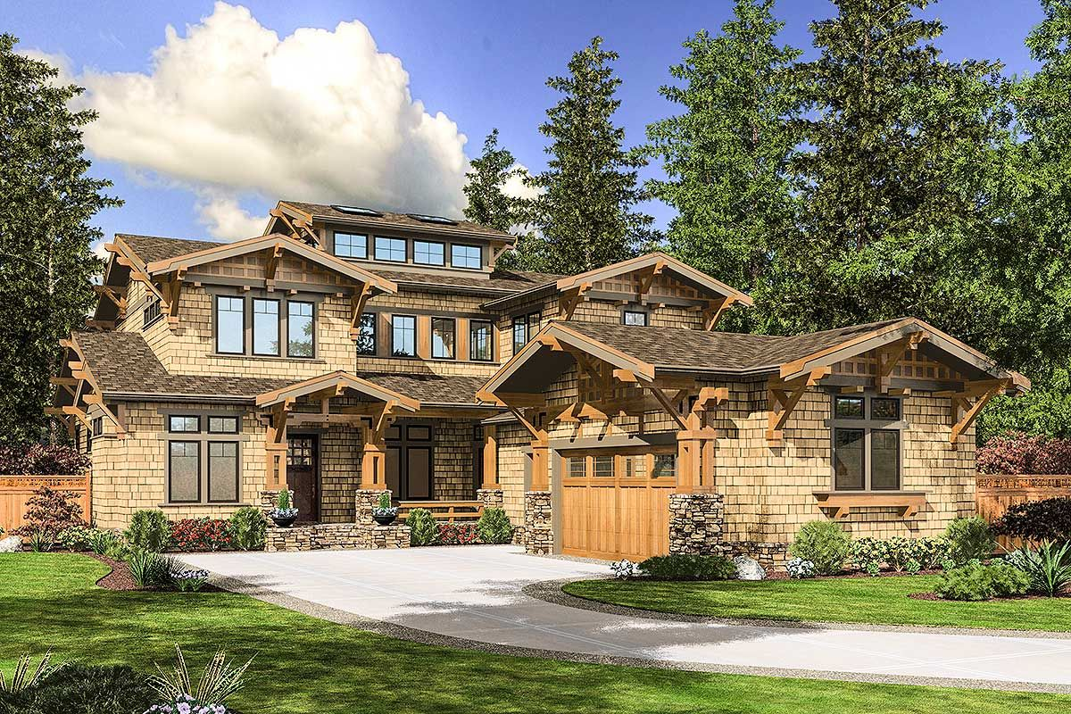Plan jd impressive craftsman home plan huge kitchen outdoor