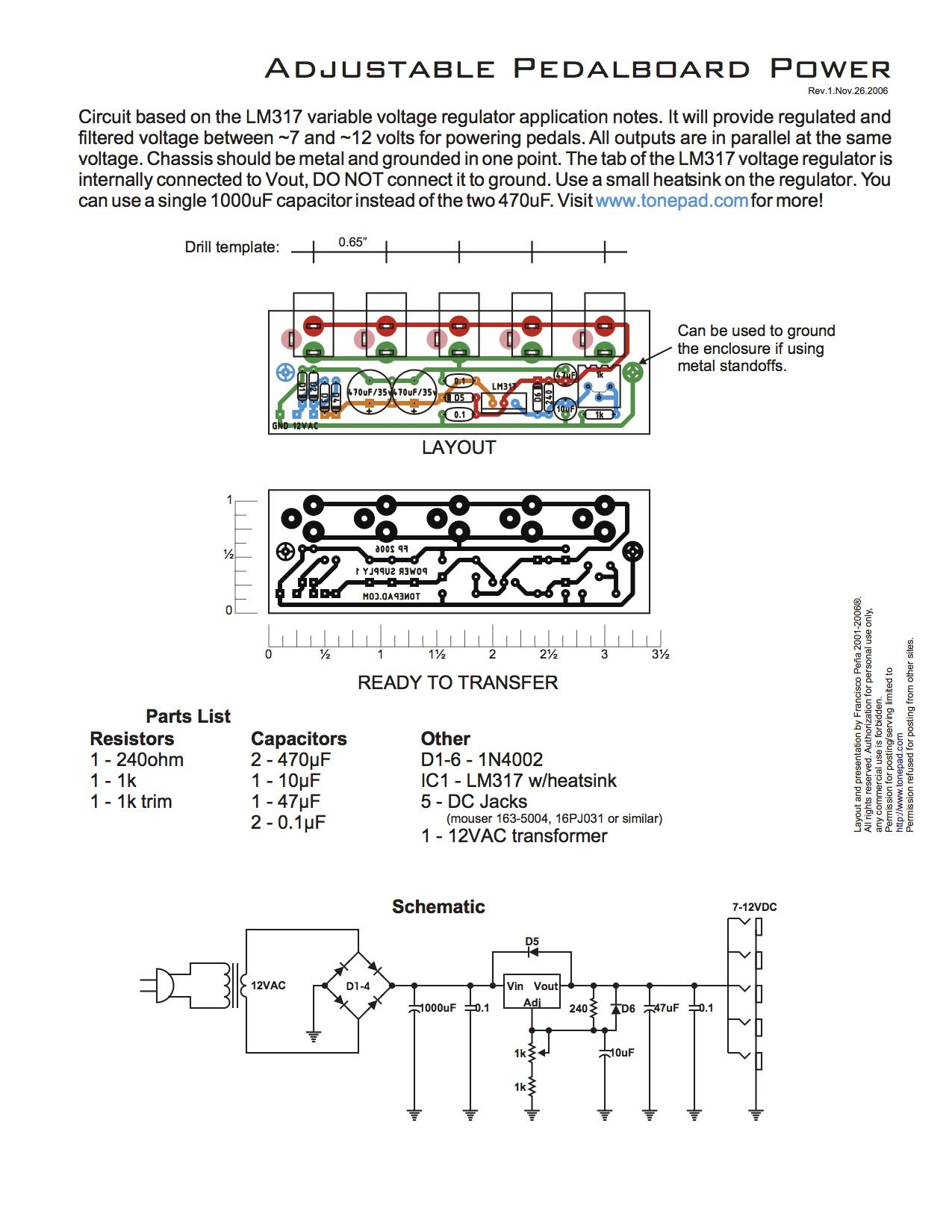 Lm317 Variable Voltage Regulator It Will Provide Regulated And 12 Volt Circuit Diagram Also Filtered Between 7 Volts For Powering Pedals