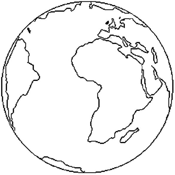 Colorie Le Dessin De La Planète Terre Les Mers Et Océans Sont Bleus
