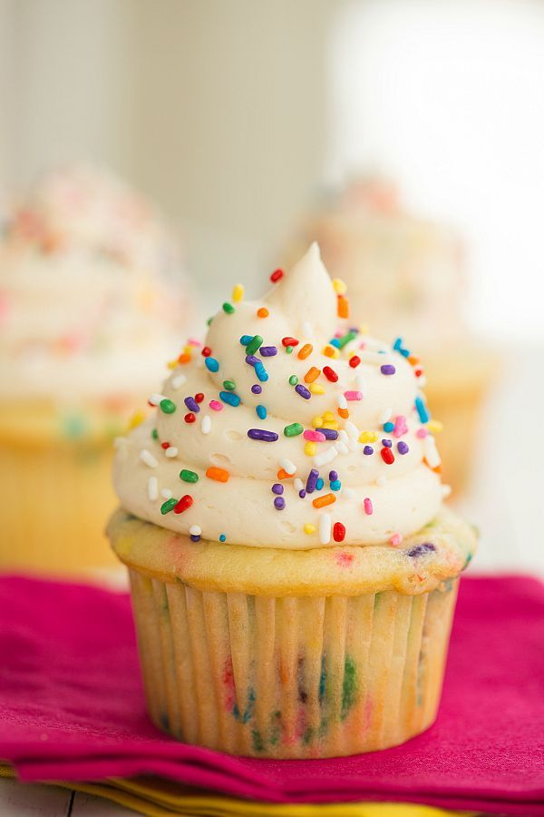 Homemade Funfetti Cupcakes (from scratch!) | https://browneyedbaker.com #recipe #cupcakes