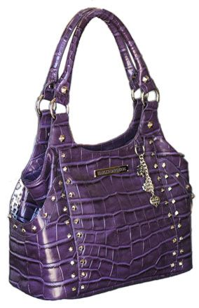 Harley Davidson Purses Bags Womens Violet Croco Bucket Leather Purse