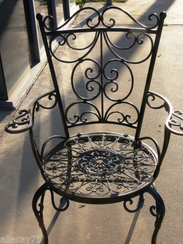 French Garden Arm Chair Wrought Iron Antique Brown Beautiful