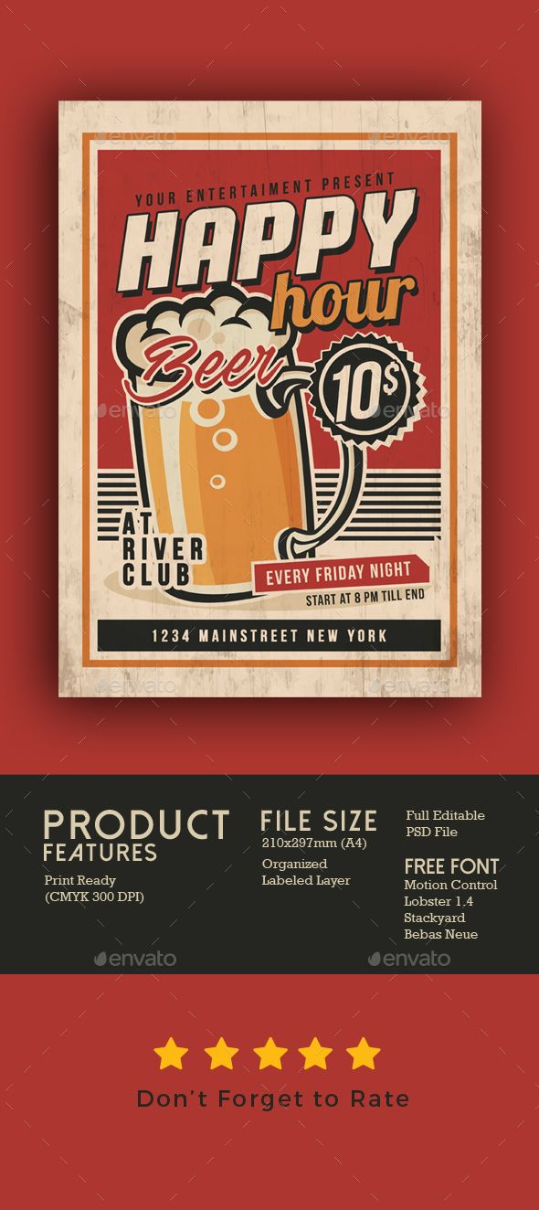 Happy Hour Vintage Flyer  Happy Hour Flyer Template And Font Logo