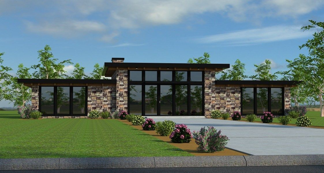 Black Onyx Contemporary Shed Roof House Plan By Mark