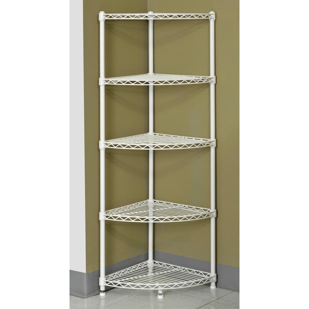 Muscle Rack 47 In H X 14 In W X 14 In D 5 Shelf Steel Wire Corner Shelving Unit In White Wscr141447 In 2020 Corner Shelving Unit Shelving Unit Corner Shelves