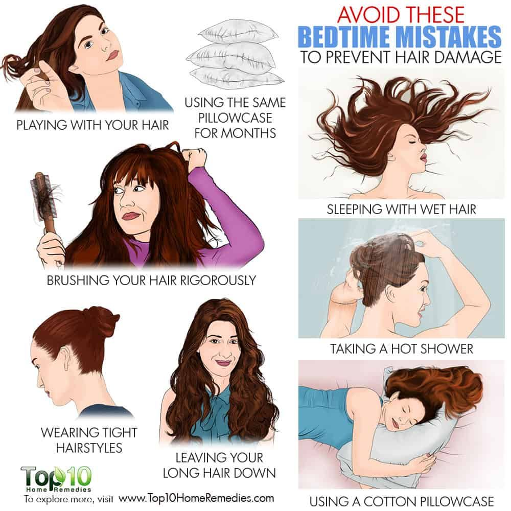 Avoid These 10 Bedtime Mistakes To Prevent Hair Damage Top 10 Home Remedies Damaged Hair Sleeping With Wet Hair Loose Hairstyles