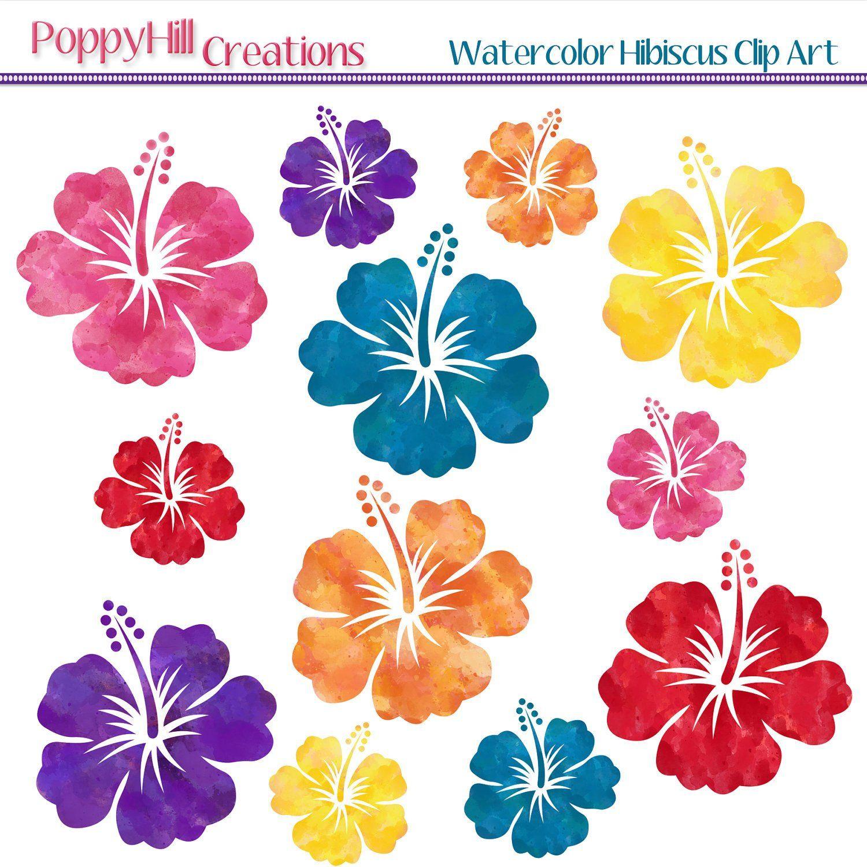 Instant Download Watercolor Hibiscus Digital Clip Art Red Patronen Tropisch Papier