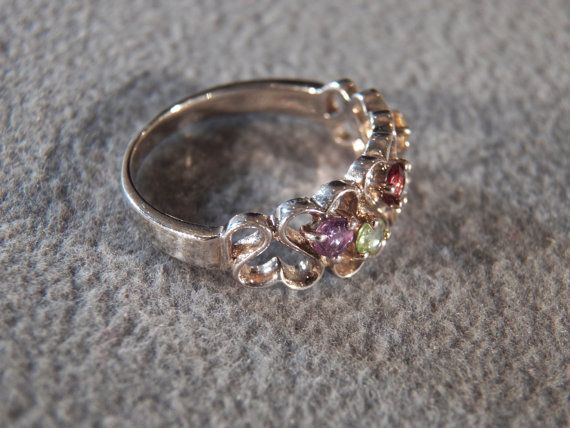 Vintage Sterling Silver Round Blue Topaz Golden Citrine Amethyst Garnet Peridot Heart Wedding Band