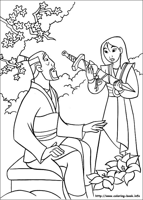 Mulan Coloring Picture With Her Father