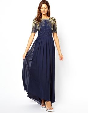 Navy and gold maxi dress