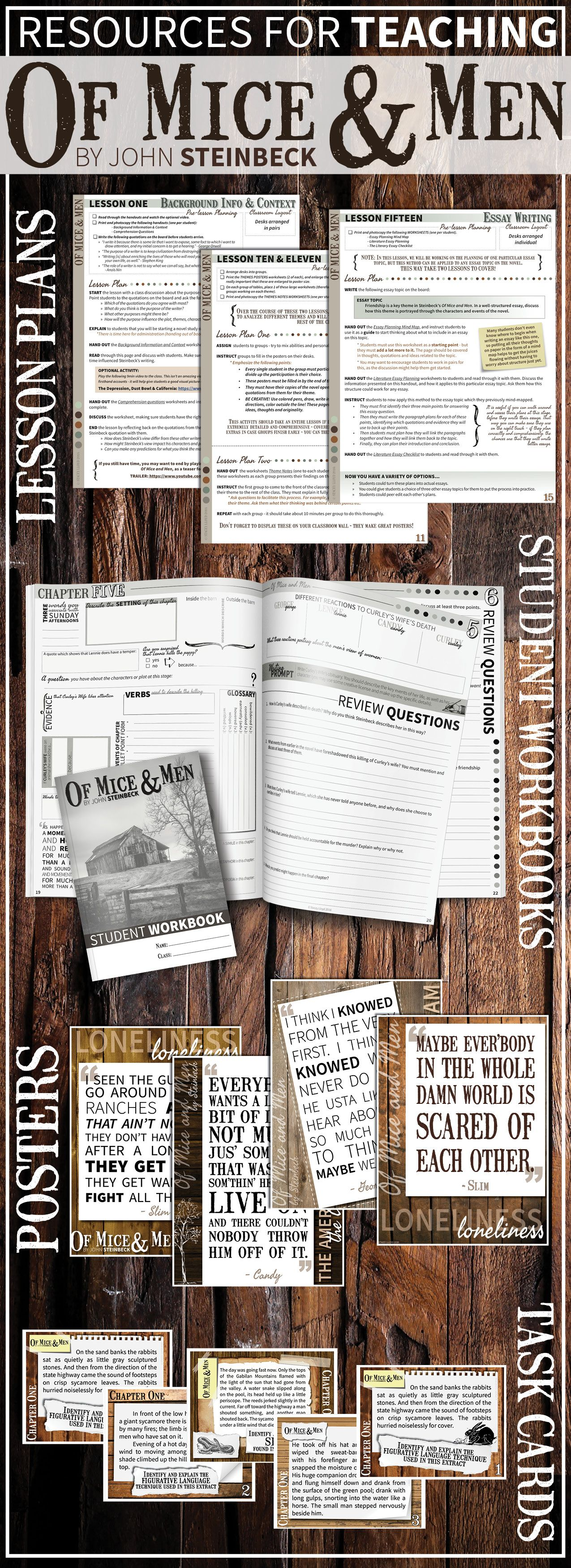 Teaching Steinbeck S Of Mice And Men Grab These Engaging Lesson Plans Chapter Questions