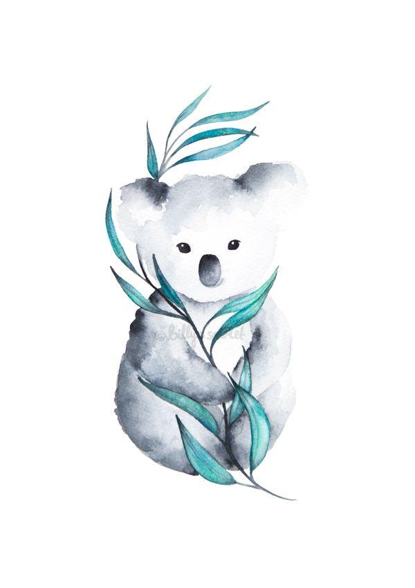 Little Koala Hand Painted In Water Colours A4 Art Print