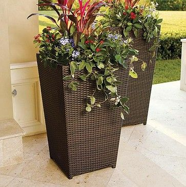 Tall Planters For Outside Woven Planter Large Frontgate