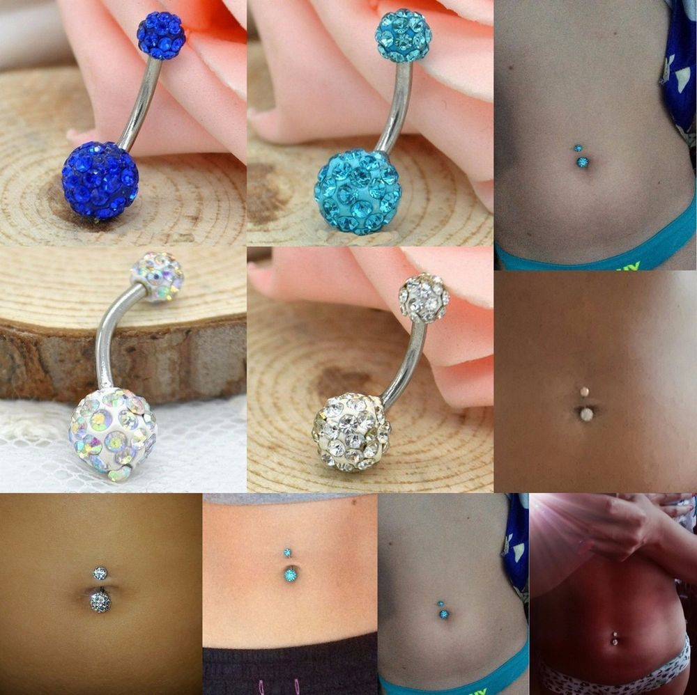 Piercing on belly  Paved Double Crystal Disco Ball Belly Ring Navel Body Piercing G