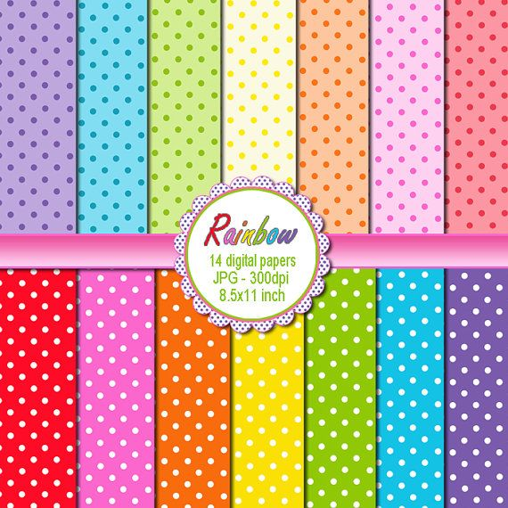 Polka Dots Clipart with Rainbow Colors - Printable Craft ...