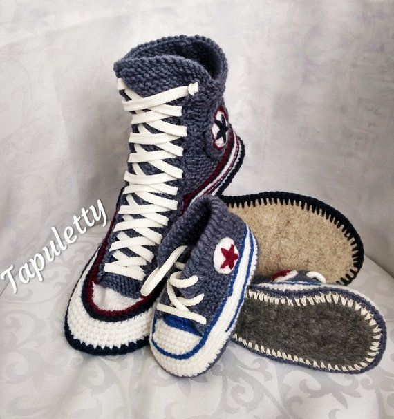 Knitted converse slippers Gift set for father and me Adult