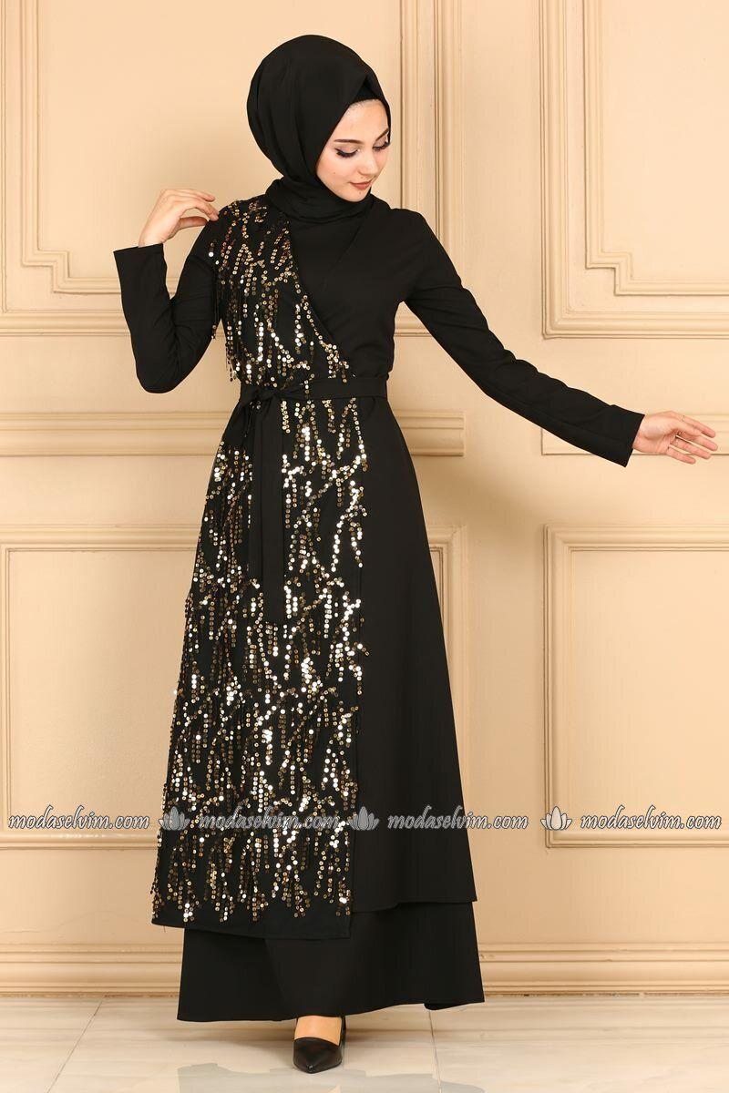 Moda Selvim Yandan Baglamali Pullu Elbise 81662bn105 Siyah Gold Pakaian Wanita Wanita Model Baju Wanita