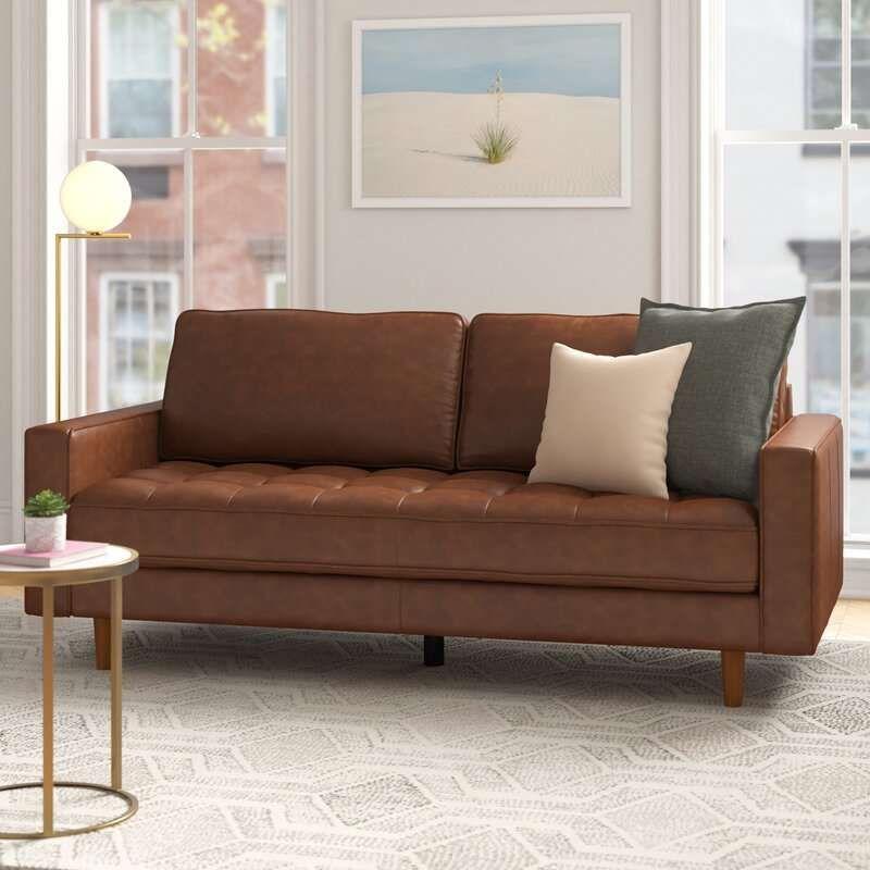 """Review Idris 80"""" Square Arm Sofa Modern Contemporary ..."""