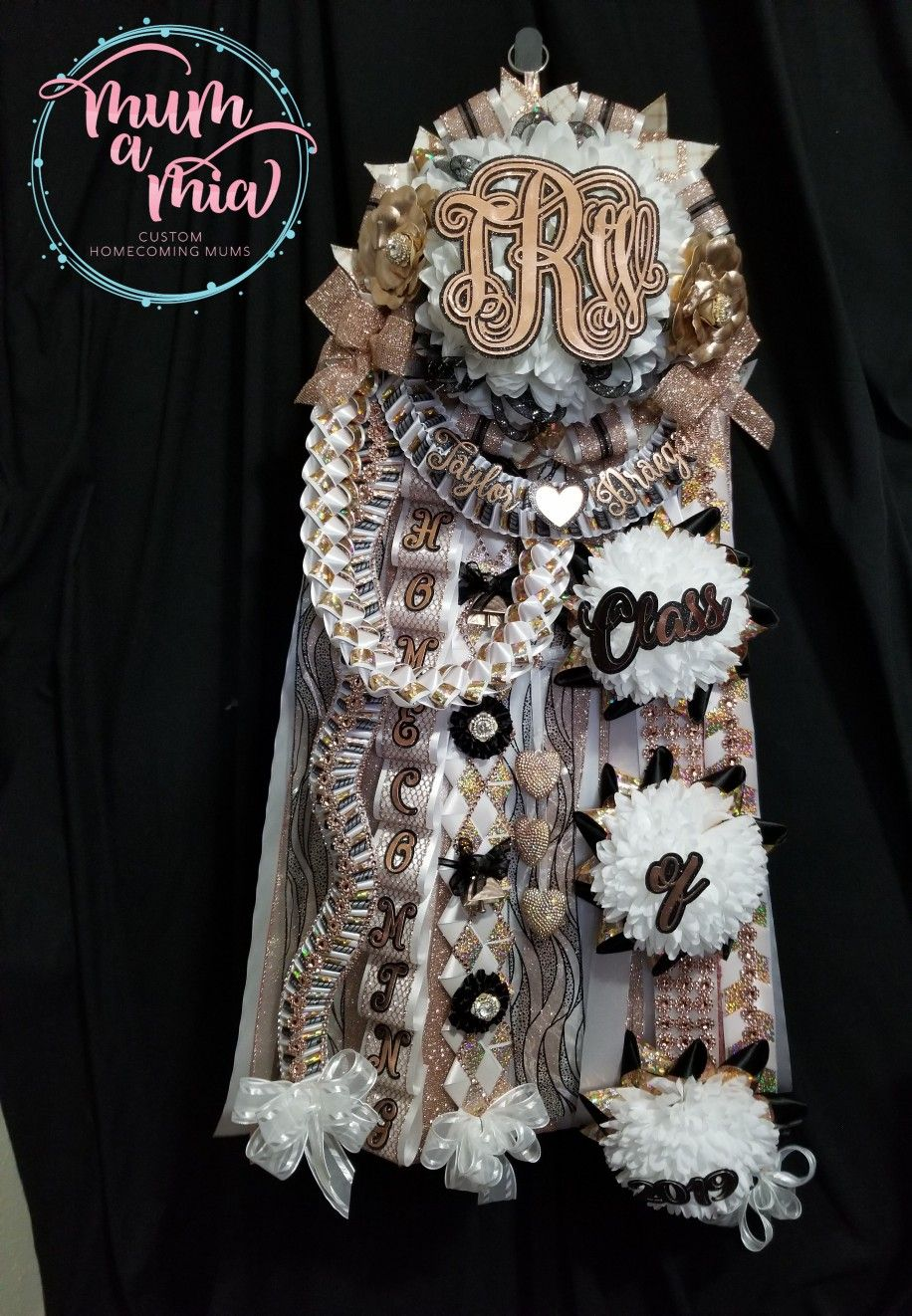 Rose gold mega Homecoming mum. We are located in Cypress, TX and ship nationwide. 832-231-8628 www.mumamia.com