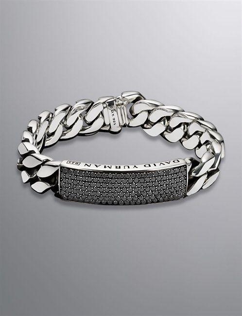 David Yurman Men Bracelets Curb Chain Id Bracelet Black Diamond 14 5mm
