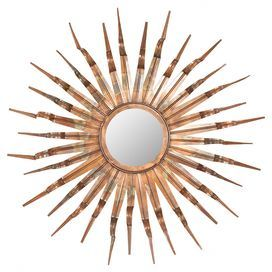 """Wrought iron wall mirror with a textured sunburst frame.   Product: Wall mirror  Construction Material: Iron and mirrored glass   Color: Copper, gold and bronze   Features: Offers dimensional design    Warm, welcoming feel           Dimensions: 33.1"""" Diameter"""