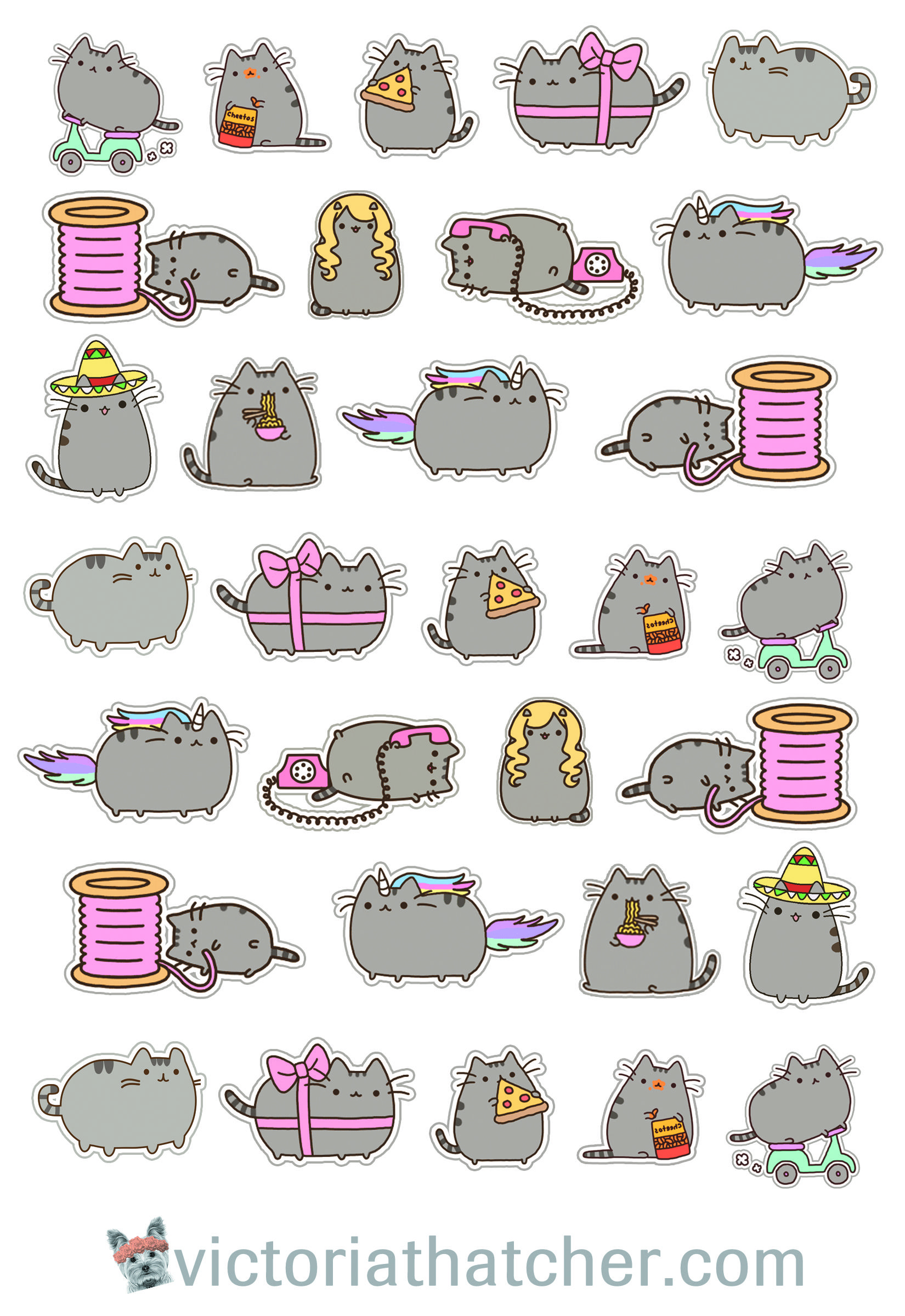 picture relating to Pusheen Printable named No cost Printable Cricut Prepared Pusheen Cat Planner Stickers