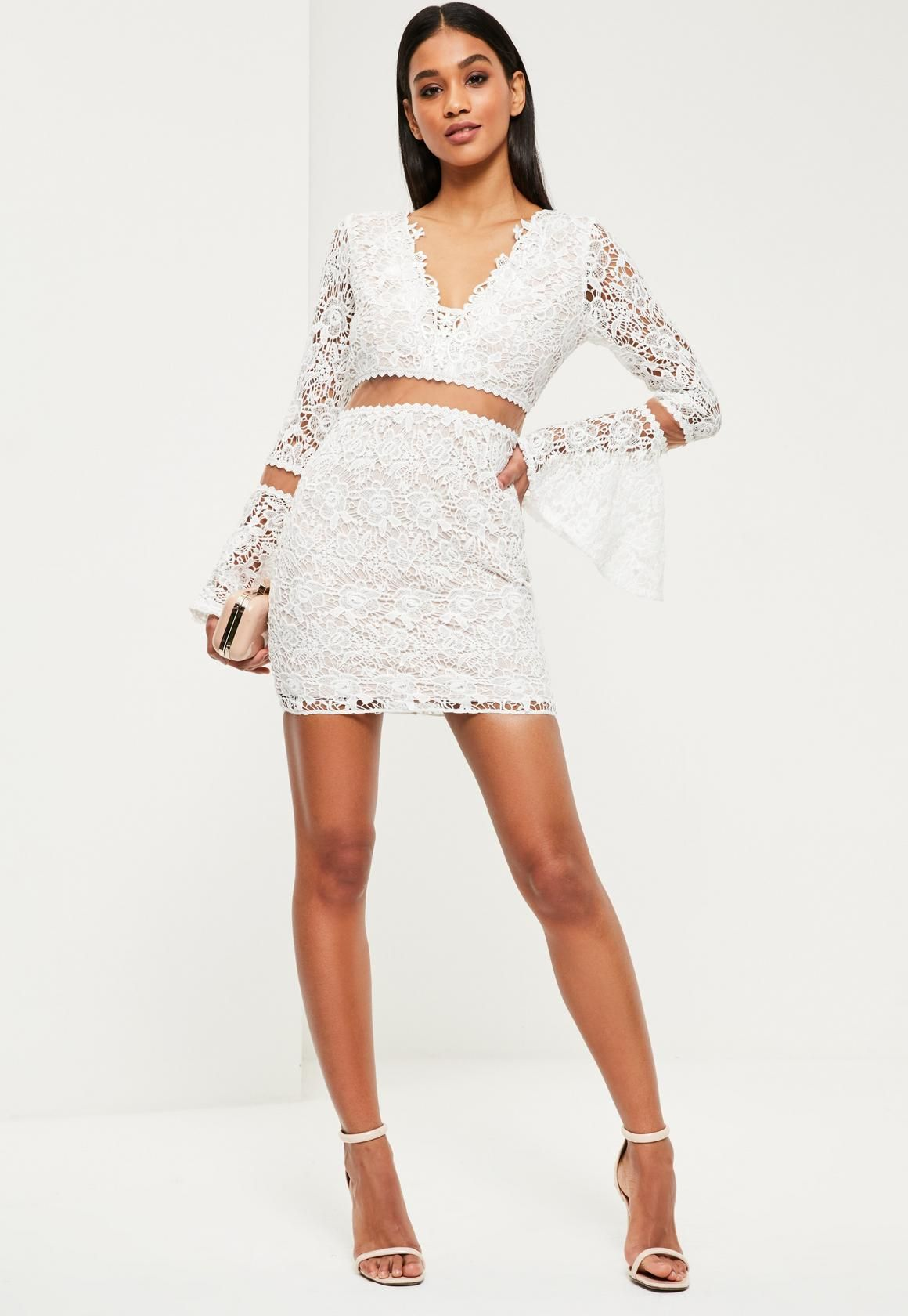 29ef1f7ecded White Lace Flare Sleeve Bodycon Dress - Missguided