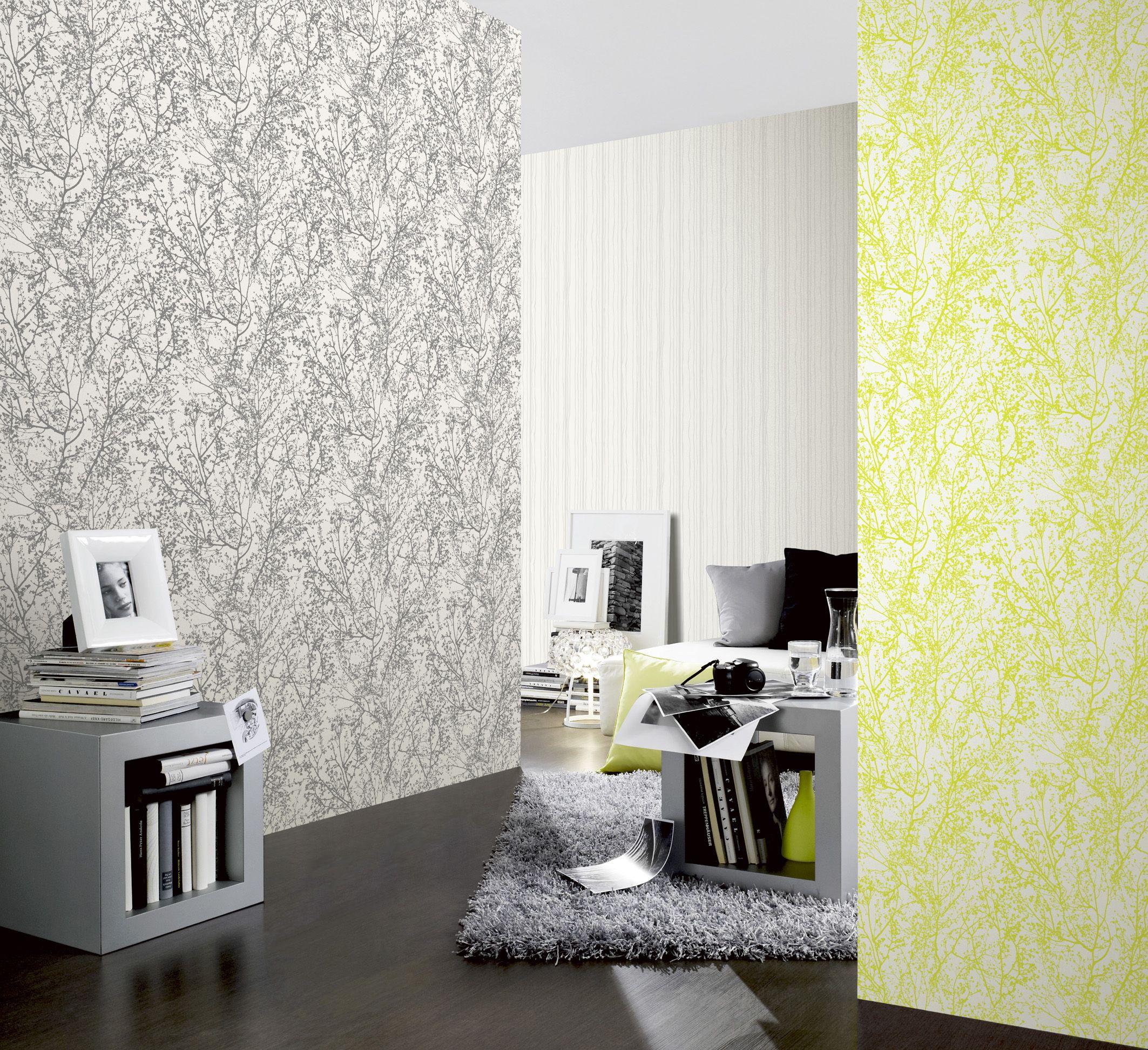 """In der Kollektion """"Graphics Alive"""" von P+S trifft frisches Grün auf zurückhaltendes Grau und sorgt für einen jungen und trendigen Look in den eigenen vier Wänden."""