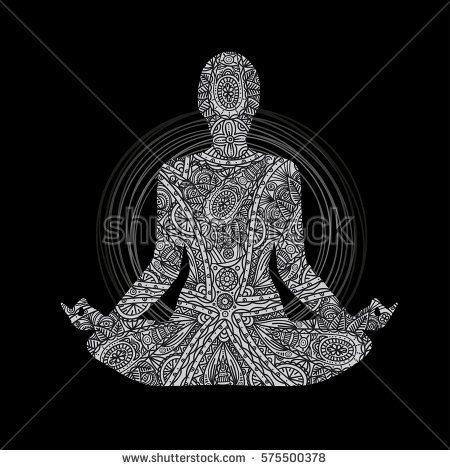 yoga  lotus pose man in meditation black and white