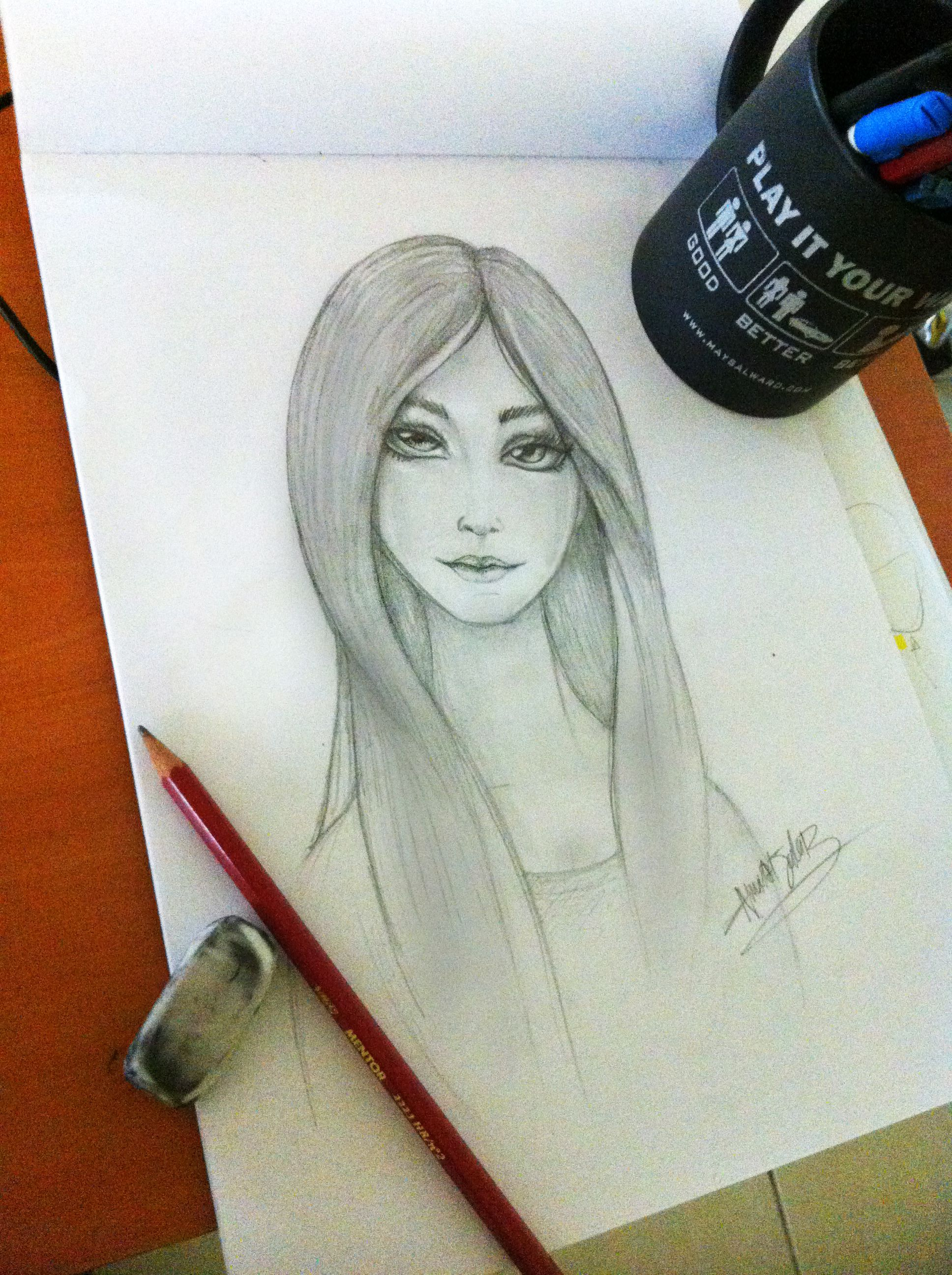 Free time pencil drawing by relaxed feelings