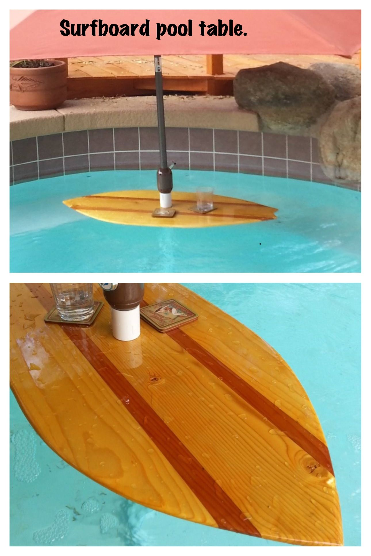 A Vintage Style Surfboard Pool Table And Umbrella Stand With A Concrete Filled Pvc Base Diy