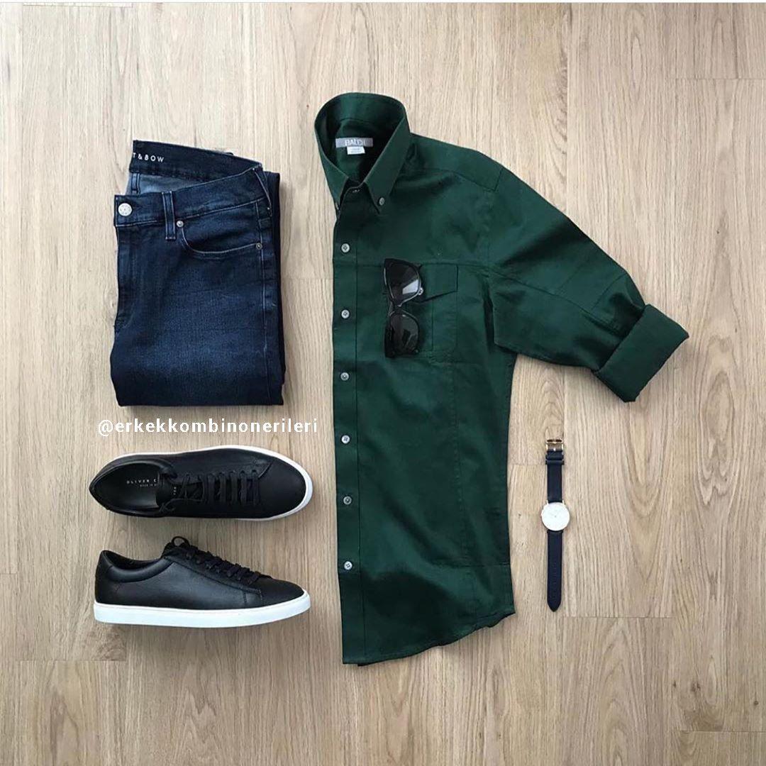 Yeşil Gömlek ile Kot Pantolon Kombinleri