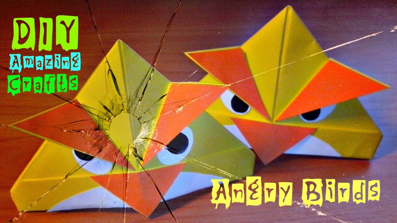 3d Craft Ideas For Kids Part - 29: DIY. How To Make Origami ANGRY BIRDS. Funny 3D Crafts. Easy Tutorial For