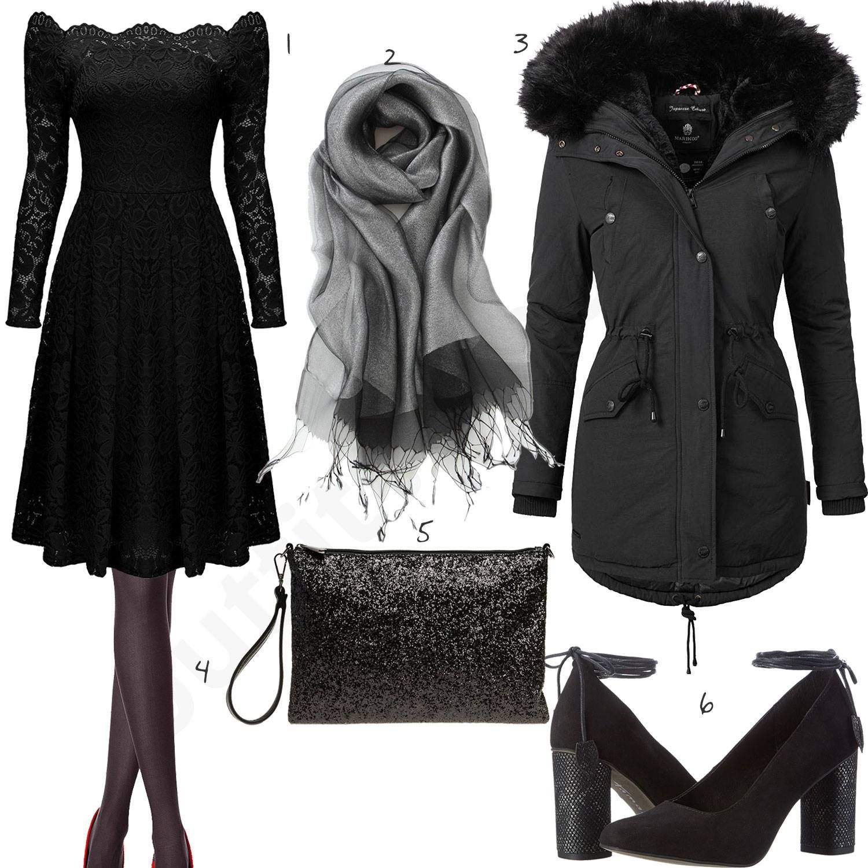 Outfit All In Black Schwarzes Kleid About You Chelsea: Schwarzes Damenoutfit Mit Elegantem Cocktailkleid