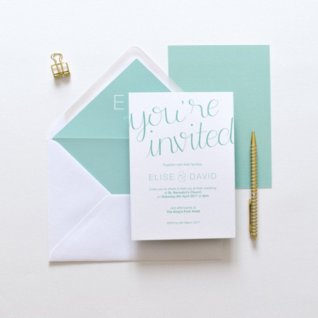 Erin Minimal Mint Green Wedding Invitation | Mint green weddings ...