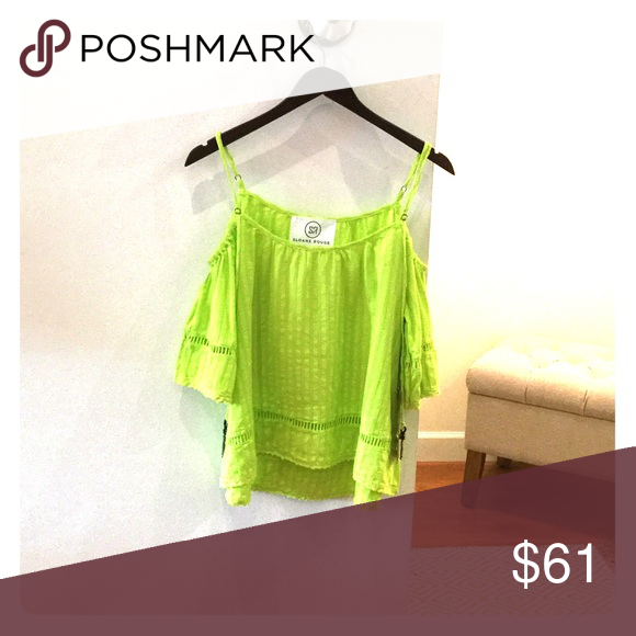 Sloane Rouge top Off the shoulder top in lime green Sloane Rouge Tops