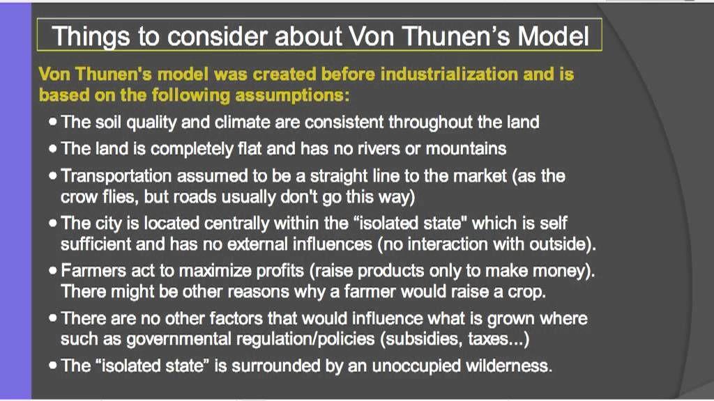 Von Thunen S Model For Rural Land Use Https Www Youtube Com