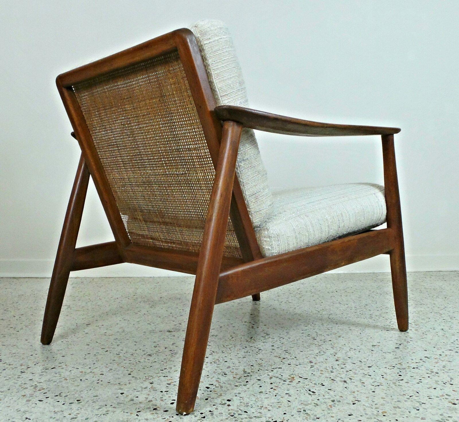Mid Century Danish Modern Cane Back Dux Lounge Chair Tweed Upholstery Ebay Furniture Chair Sofa Chair