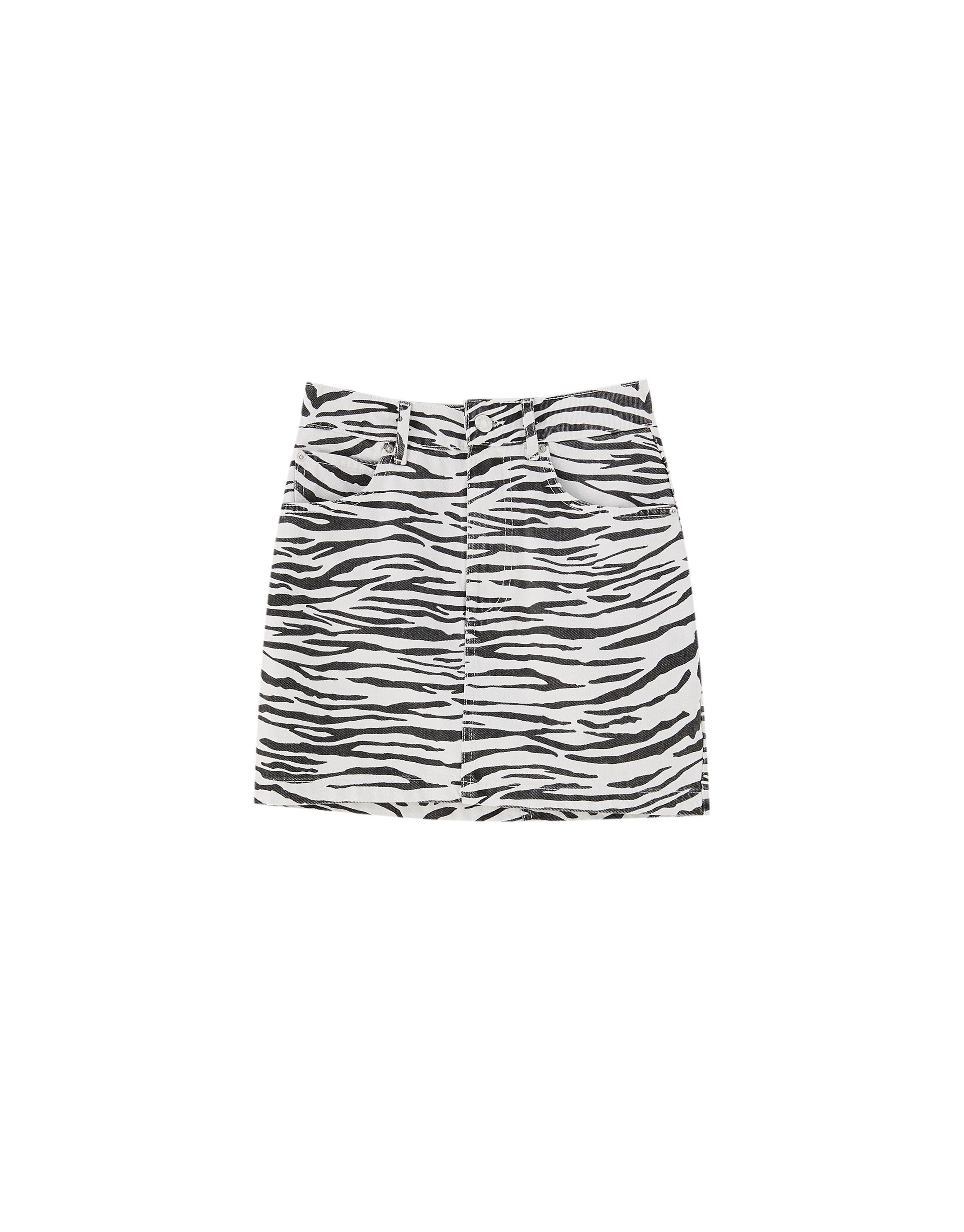 cae1ff507e Zebra print denim mini skirt   leopard love in 2019   Denim mini ...