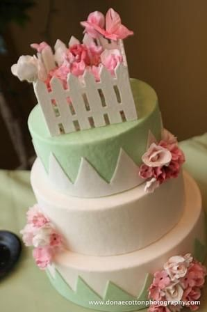 This lovely spring inspired wedding cake has ONLY edible decoration on it.  All the decortation are made from fondant and sugarpaste.
