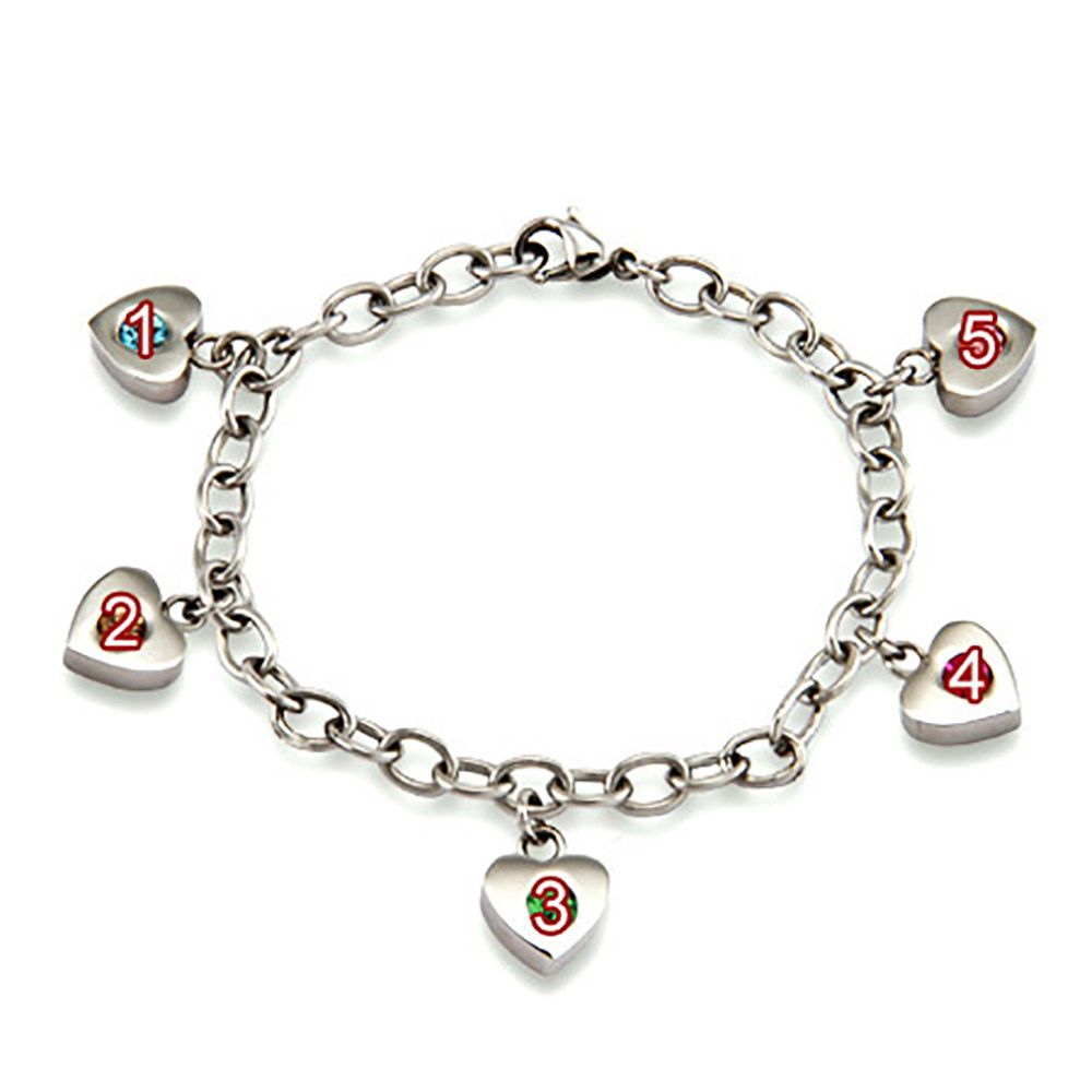 Personalized Mothers Heart Charm Birthstone Bracelet